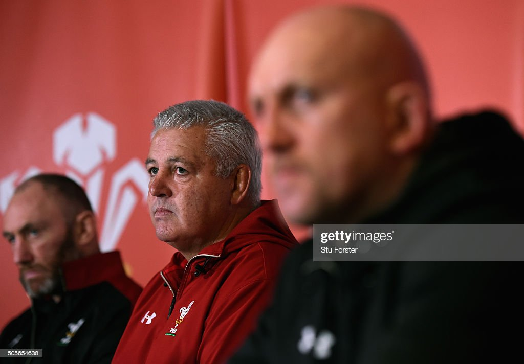 Wales coaches Robin McBryde (l) Warren Gatland, and Shaun Edwards (r) face the media at the 2016 RBS Six Nations squad announcement at the Vale hotel on January 19, 2016 in Cardiff, Wales.