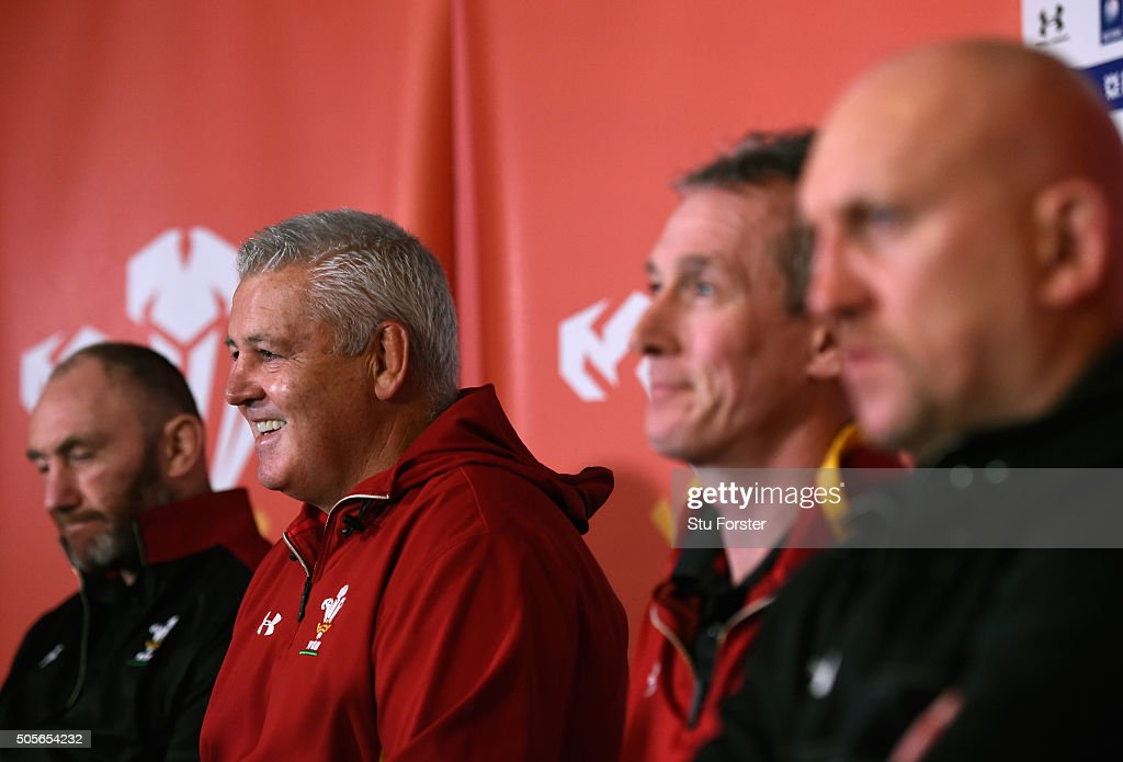 Wales coaches Robin McBryde (l) Warren Gatland, Robert Howley and Shaun Edwards (r) face the media at the 2016 RBS Six Nations squad announcement at the Vale hotel on January 19, 2016 in Cardiff, Wales.