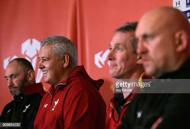 Wales coaches Robin McBryde Warren Gatland Robert Howley and Shaun Edwards face the media at the 2016 RBS Six Nations squad announcement at the Vale...