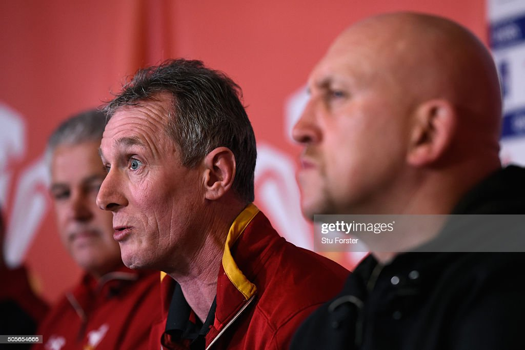 Wales coaches Warren Gatland (l) Robert Howley and Shaun Edwards (r) face the media at the 2016 RBS Six Nations squad announcement at the Vale hotel on January 19, 2016 in Cardiff, Wales.