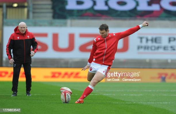 Wales Dan Biggar during the pre-match warm-up during the Quilter International match between Wales and England as part of the Autumn Nations Cup at...