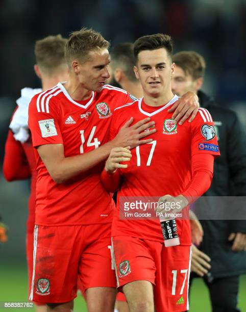 Wales' Dave Edwards and Tom Lawrence celebrate after the final whistle of the 2018 FIFA World Cup Qualifying Group D match at the Boris Paichadze...