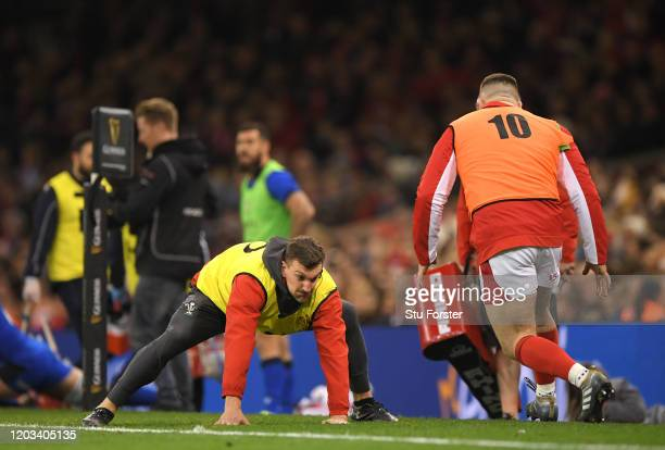 Wales Defence and breakdown Technical Advisor Sam Warburton in action during the 2020 Guinness Six Nations match between Wales and Italy at...