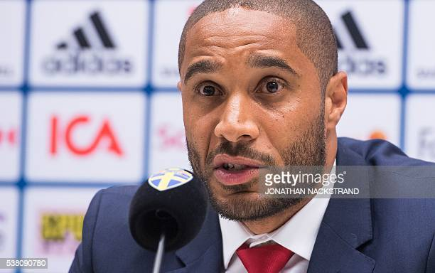 Wales defender Ashley Williams attends a press conference at Friends Arena in Solna near Stockholm on June 4 on the eve of the friendly football...