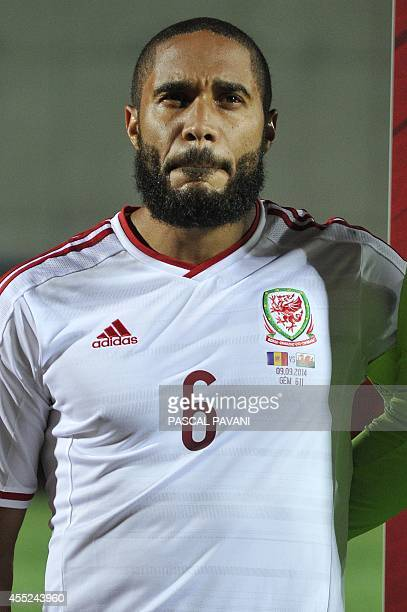 Wales defender Ashley Williams during the Euro 2016 qualifying round football match Andorra vs Wales on September 9 2014 at the Municipal Stadium in...