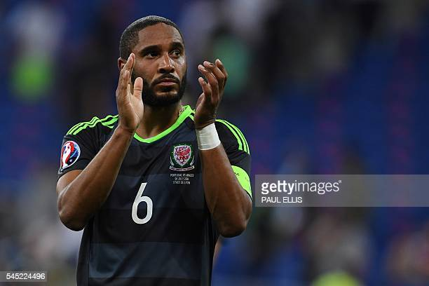 Wales' defender Ashley Williams reacts at the end of the Euro 2016 semifinal football match between Portugal and Wales at the Parc Olympique Lyonnais...