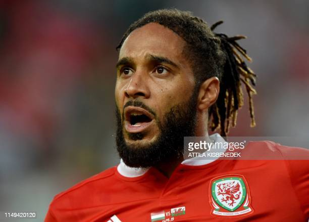 Wales' defender Ashley Williams sings their national anthem prior to the UEFA Euro 2020 qualifier Group E football match Hungary against Wales on...