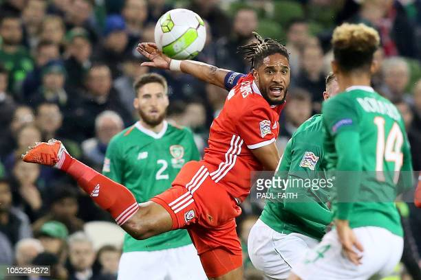 Wales' defender Ashley Williams watches the ball during the UEFA Nations League football match between Republic of Ireland and Wales at Aviva Stadium...