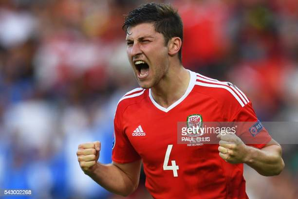 Wales' defender Ben Davies celebrates his team's victory during the Euro 2016 round of sixteen football match Wales vs Northern Ireland on June 25...