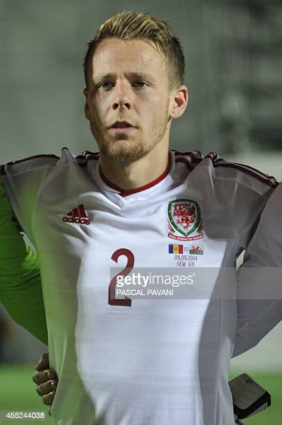 Wales' defender Chris Gunter during the Euro 2016 qualifying round football match Andorra vs Wales on September 9 2014 at the Municipal Stadium in...
