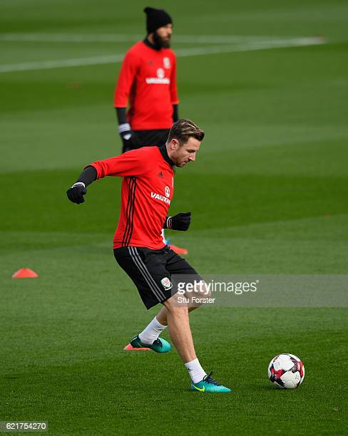 Wales defender Paul Dummett in action during training ahead of their World Cup Qualifier against Serbia at the Vale on November 8 2016 in Cardiff...