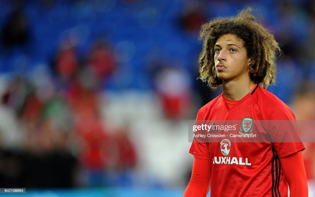 Wales Ethan Ampadu during the pre-match warm-up during the FIFA 2018 World Cup Qualifier between Wales and Austria at Cardiff City Stadium on September 2, 2017 in Cardiff, Wales.