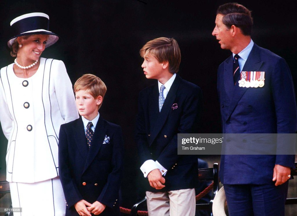 Wales Family Princess Diana Prince William Harry Charles Attend Vj Day