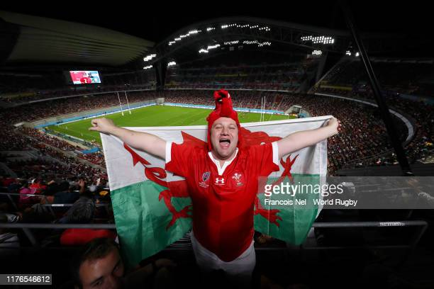 Wales fan poses for a photo with a Welsh flag inside the stadium during the Rugby World Cup 2019 Group D game between Wales and Georgia at City of...