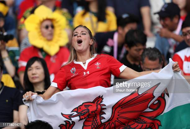 Wales fan shows their support prior to the Rugby World Cup 2019 Group D game between Australia and Wales at Tokyo Stadium on September 29 2019 in...