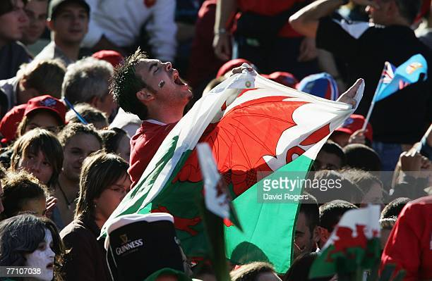 Wales fan sings his national anthem prior to kickoff during the Rugby World Cup 2007 Pool B match between Wales and Fiji at the Stade de la Beaujoire...