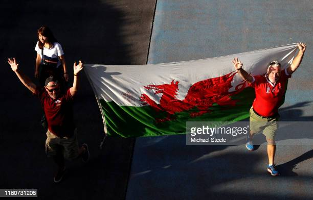 Wales fans arrive at the stadium prior to the Rugby World Cup 2019 Group D game between Wales and Uruguay at Kumamoto Stadium on October 13 2019 in...