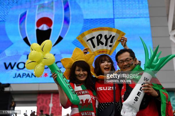 Wales fans await the start of the Japan 2019 Rugby World Cup quarterfinal match between Wales and France at the Oita Stadium in Oita on October 20...