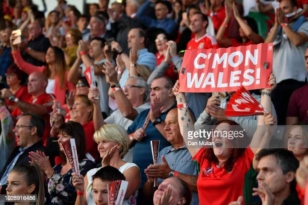 Wales fans cheer the team during the Women's World Cup qualifier between Wales Women and England Women at Rodney Parade on August 31 2018 in Newport...