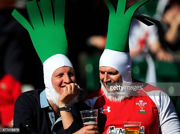 Wales fans enjoy the atmosphere during the RBS Six Nations match between England and Wales at Twickenham Stadium on March 9 2014 in London England
