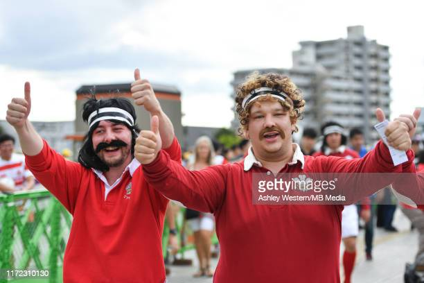 Wales fans enjoying the pre match atmosphere before the Rugby World Cup 2019 Group D game between Australia and Wales at Tokyo Stadium on September...