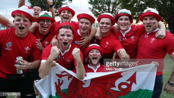 Wales fans in buoyant mood ahead of the Rugby World Cup 2019 Group D game between Wales and Georgia at City of Toyota Stadium on September 23 2019 in...
