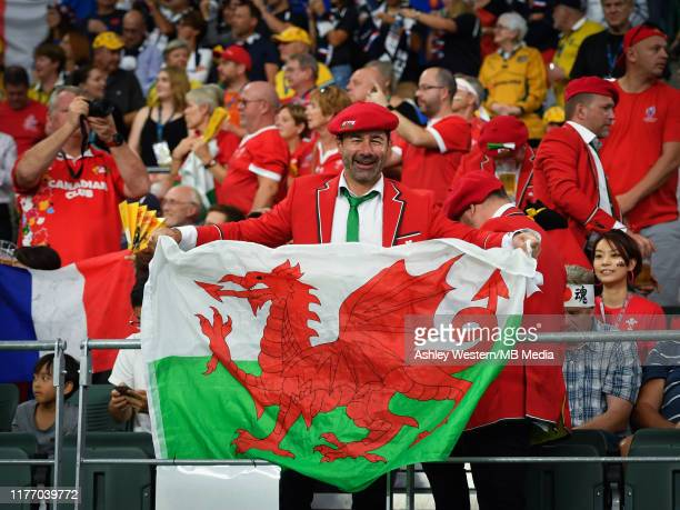Wales fans in the stadium for the Rugby World Cup 2019 Quarter Final match between Wales and France at Oita Stadium on October 20 2019 in Oita Japan