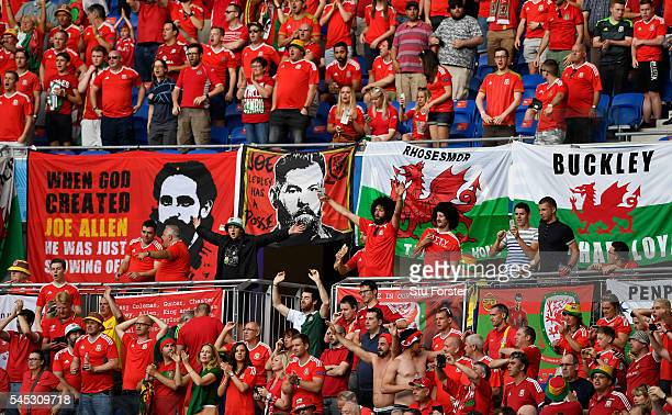 Wales fans pictured prior to the UEFA EURO 2016 semi final between Wales and Portugal at Stade des Lumieres on July 6 2016 in Lyon France