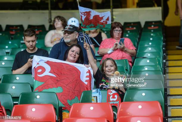 Wales fans prior to kick off during the Rugby Summer Series match between Wales and Argentina at Principality Stadium on July 17, 2021 in Cardiff,...