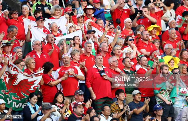 Wales fans show their support prior to the Rugby World Cup 2019 Group D game between Wales and Uruguay at Kumamoto Stadium on October 13 2019 in...