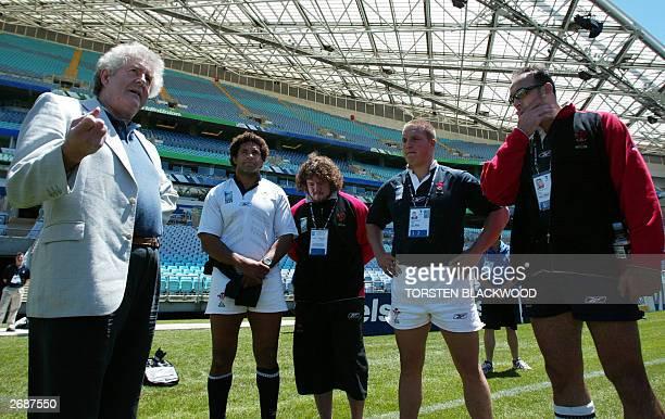 Wales' First Premier Rhodri Morgan talks to Welsh captain Colin Charvis , prop Adam Jones , prop Gethin Jenkins and flanker Chris Wyatt prior to the...