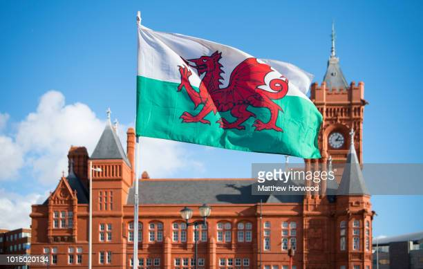 Wales flag flies in front of the Pierhead Building in Cardiff Bay on February 11, 2018 in Cardiff, United Kingdom.