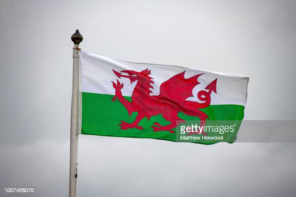 Wales flag seen flying at Cardiff City Hall on April 16, 2018 in Cardiff, United Kingdom.