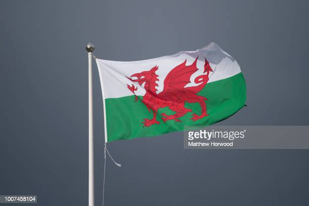 Wales flag seen flying at Cardiff City Hall on April 3, 2015 in Cardiff, United Kingdom.