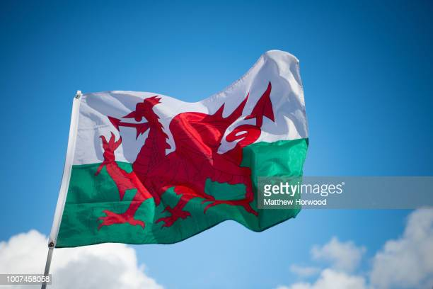 Wales flag seen flying at Cardiff City Hall on February 11, 2018 in Cardiff, United Kingdom.