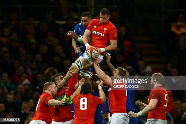 Wales' flanker Aaron Shingler catches the ball from a line out during the Six Nations international rugby union match between Wales and France at the...