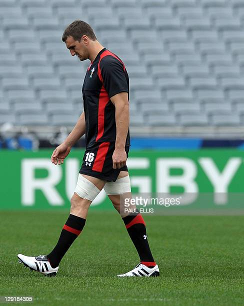 Wales' flanker Sam Warburton attends the captain's run at Eden Park in Auckland on October 14 on the eve of their 2011 Rugby World Cup semifinal...