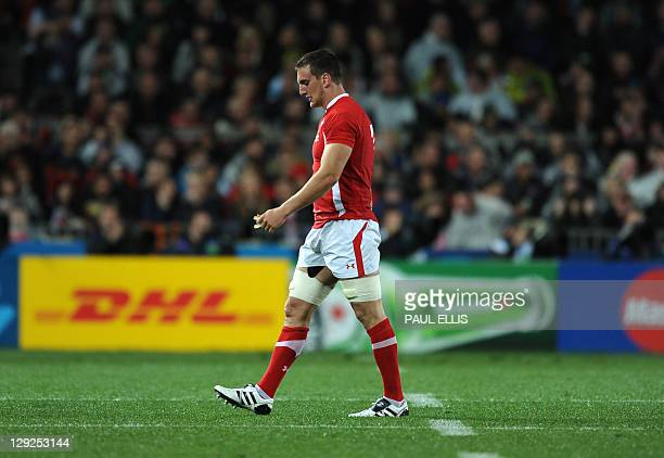 Wales' flanker Sam Warburton leaves the field after a red card during the 2011 Rugby World Cup semi-fianl match Wales vs France at the Eden Park in...