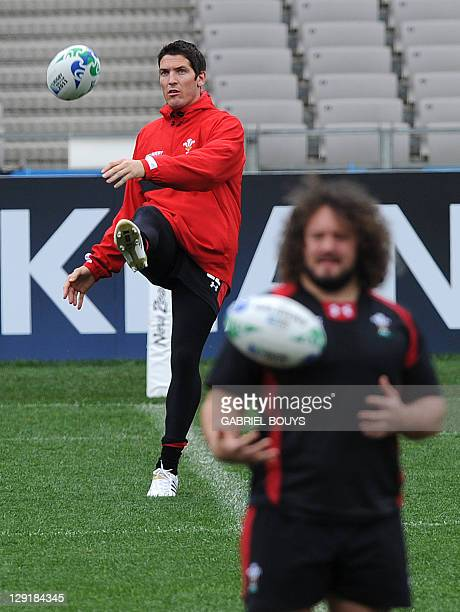 Wales' fly half James Hook and prop Adam Jones attend the Captain's run at the Eden Park in Auckland on October 14 on the eve of their 2011 Rugby...