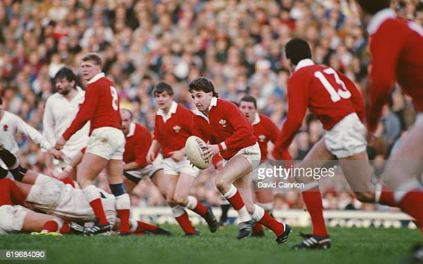 Wales fly half Jonathan Davies makes a break during the Five Nations Championship match against England at Twickenham on February 6 1988 in London...