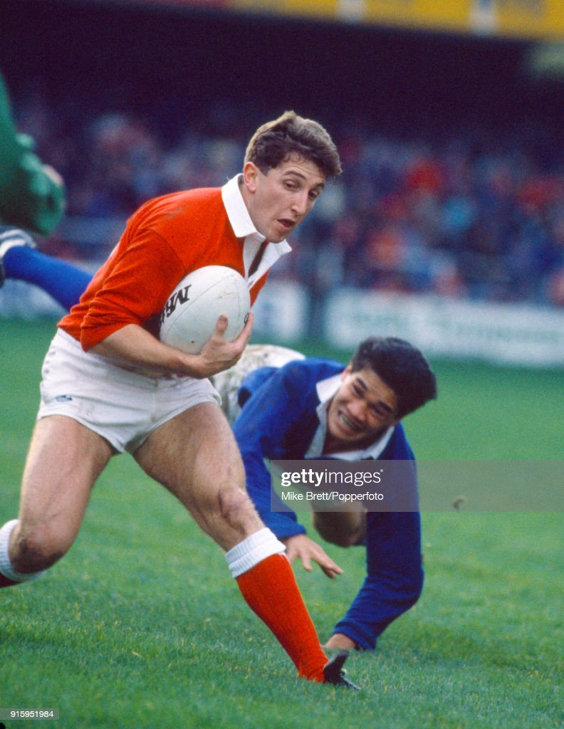 Wales fly-half and captain Jonathan Davies in rugby union action against Samoa at the Cardiff Arms Park on 12th November 1988. Wales won 28-6.