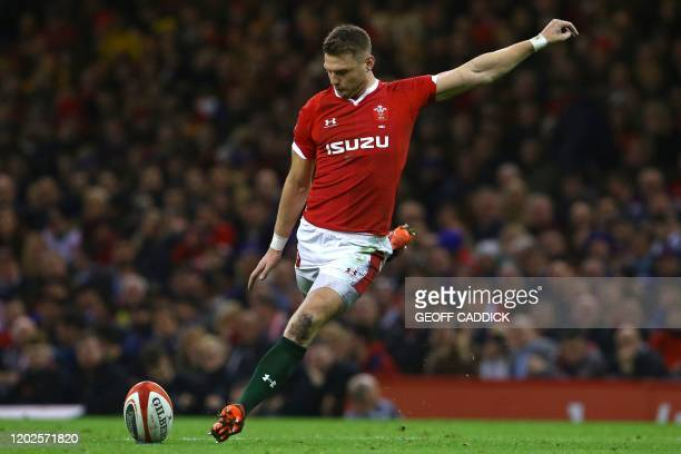 Wales' flyhalf Dan Biggar kicks a penalty during the Six Nations international rugby union match between Wales and France at the Principality Stadium...