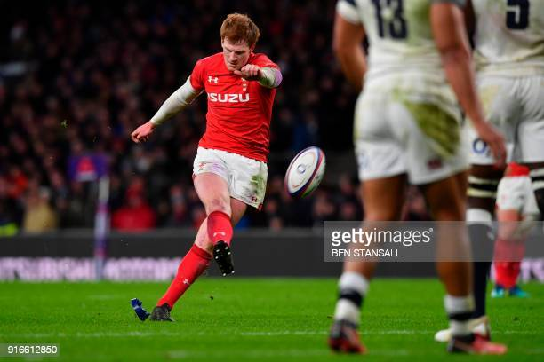 Wales' flyhalf Rhys Patchell kicks a penalty during the Six Nations international rugby union match between England and Wales at the Twickenham west...