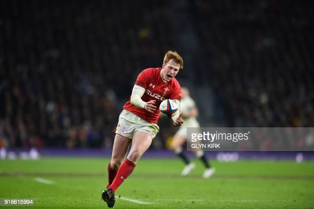 Wales' flyhalf Rhys Patchell takes the ball during the Six Nations international rugby union match between England and Wales at the Twickenham west...