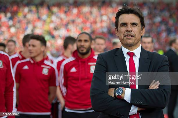 Wales football team manager Chris Coleman looks on during a ceremony at the Cardiff City Stadium on July 8 2016 in Cardiff Wales The players toured...