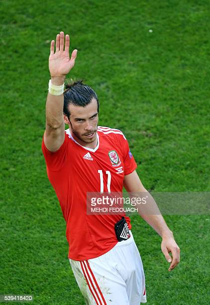 Wales' forward Gareth Bale acknowledges the crowds following their 21 win in the Euro 2016 group B football match between Wales and Slovakia at the...