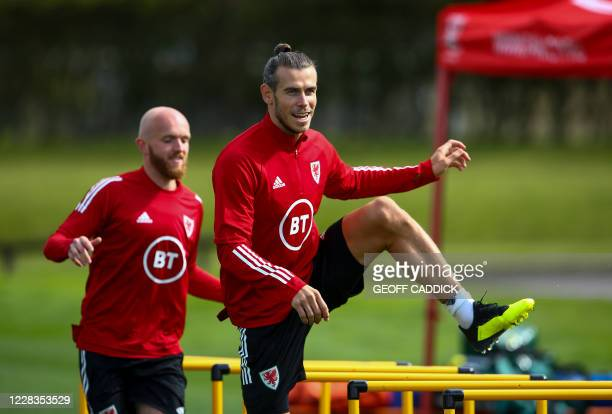 Wales' forward Gareth Bale attends a training session at The Vale Resort near Hensol in South Wales on September 5, 2020 ahead of their UEFA Nations...