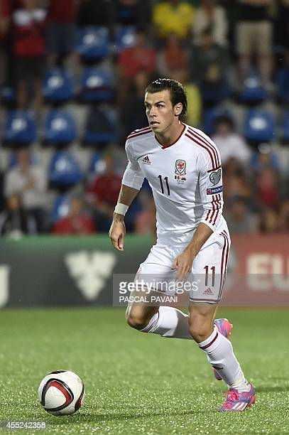 Wales forward Gareth Bale during the Euro 2016 qualifying round football match Andorra vs Wales on September 9 2014 at the Municipal Stadium in...