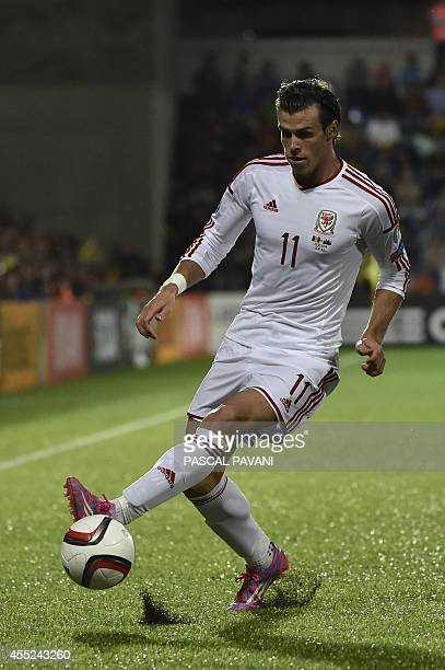 Wales' forward Gareth Bale during the Euro 2016 qualifying round football match Andorra vs Wales on September 9 2014 at the Municipal Stadium in...