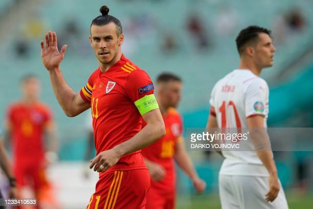 Wales' forward Gareth Bale gestures during the UEFA EURO 2020 Group A football match between Wales and Switzerland at the Olympic Stadium in Baku on...